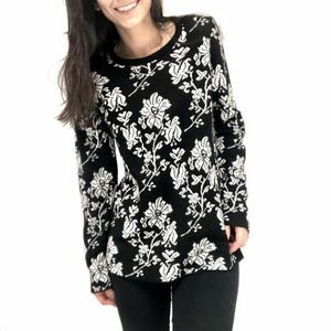 Cocogio Women's Pullover Wool Black Floral Italy